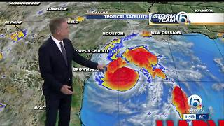 Harvey strengthens to Category 1 hurricane, could dump 20 inches of rain on Texas - Video