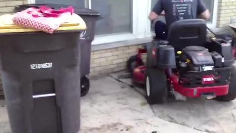 Man Fails In Parking Lawn Mower