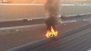 Car fire on U.S. 95 near Rainbow - Video