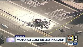 Motorcyclist dead after fiery crash in Phoenix - Video