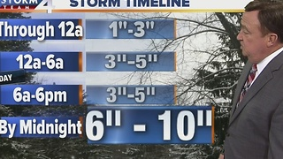 Saturday Night: Winter Storm Warning Timeline