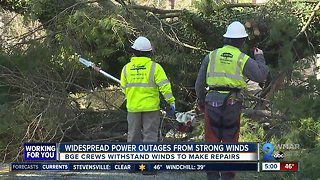 Strong, gusty winds cause power outages and toppled trees across Maryland