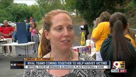 Rival teams come together to help hurricane victims