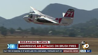 Aggressive air attacks douse brush fires