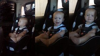 Baby Scared Of Loud Car Wash Gets Distracted By Big Brother