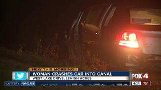 Woman crashes car into canal in Lehigh Acres - Video