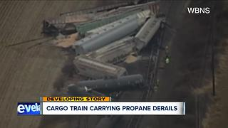 Cargo train carrying propane derails in Ashland County - Video