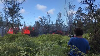 Lava Bubbles and Spatters in Leilani Estates Forest - Video