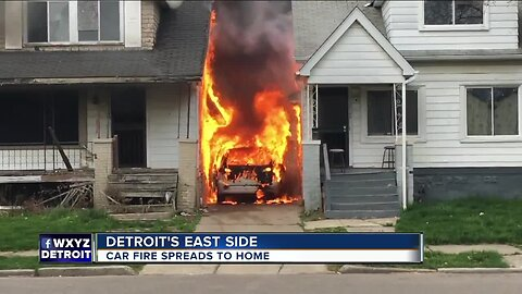 Off-duty firefighter saves family from burning home after car catches fire in driveway