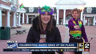 Mardi Gras fun at Six Flags America - Video