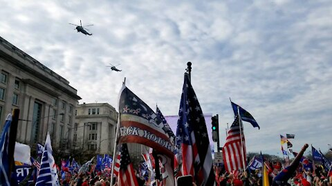 Marine One and Marine Two fly over Millio MAGA March in DC on December 12th