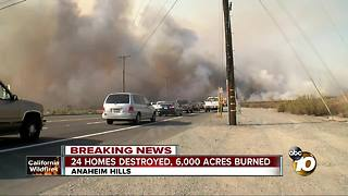 6,000 acres burned, 24 homes destroyed in Anaheim - Video