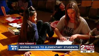 Free shoes given to 600 elementary students - Video