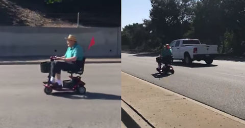 Blissfully Unaware Senior Mobs Down Highway In Scooter