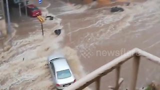 Heavy downpour floods streets in Greece's Thessaloniki