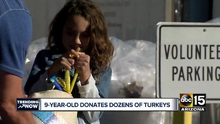 Valley girl donates dozens of turkeys to help feed the hungry during the holidays - Video