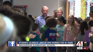 Students celebrate janitor who worked at school for 40 years - Video