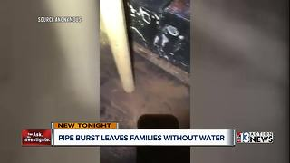 Las Vegas families left without water after pipe bursts - Video
