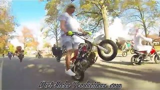Motorcyclist Performs Wheelies on a 50CC Pit Bike in Grandma Outfit - Video