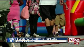 A downtown mission held a block party for homeless after 'roughest summer' - Video