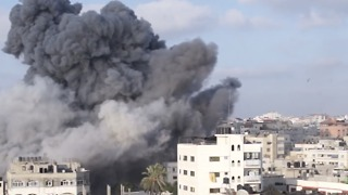 Airstrikes Target Cultural Center in Gaza With Multiple Munitions - Video