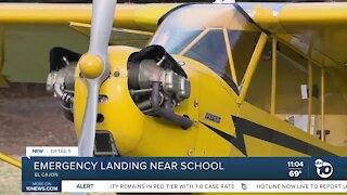 Plane makes emergency landing near school