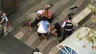 Barcelona Van-Ramming Attack Victim Seen Lying on Las Ramblas - Video