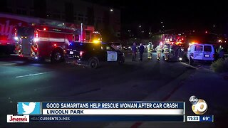 Woman rescued after rollover crash in Lincoln Park