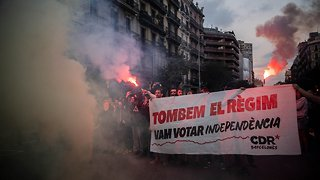 Catalan Separatists Protest To Mark Independence Vote Anniversary - Video
