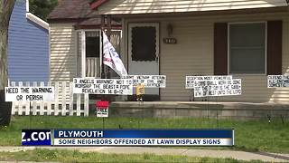 Plymouth neighbors offended by lawn display signs