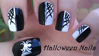 Spider web Halloween nail art - Video