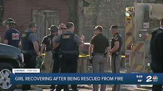 Girl recovering after being rescued from fire