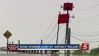 Road Worker Injured After Being Run Over By Asphalt Roller - Video