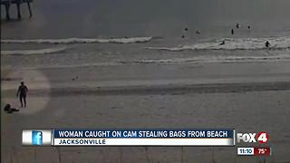 Woman Caught on Camera Stealing Bags off the Beach - Video