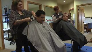Gyro Shack employees shave heads for co-worker