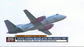 Couple frustrated after airline holds onto refund after Hurricane Irma cancels trip - Video