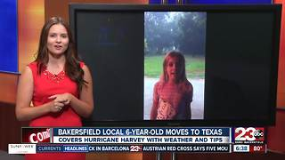 Local 6-year-old moves to Texas and covers Tropical Storm Harvey - Video