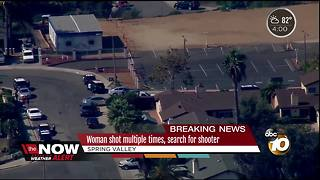 Woman shot multiple times, search for shooter