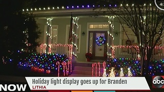 Holiday light display goes up for Branden - Video