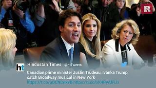 Justin Trudeau and Ivanka Trump attend topical Broadway show together | Rare Media - Video