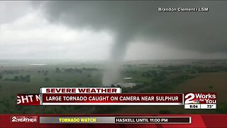 Large tornado caught on camera near Sulphur