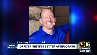 Phoenix officer getting better after serious crash - Video