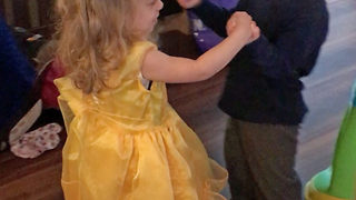 Adorable moment toddler cousins recreate Beauty & the Beast dance – before falling over