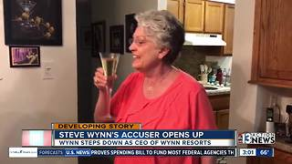 Woman sips champagne after Steve Wynn resigns - Video
