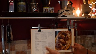 How to make a DIY cookbook hanger in 10 seconds - Video