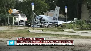 Three hospitalized after plane lands on road