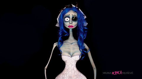 Kika Makes A Body Painting Illusion Of Emily From The Corpse Bride
