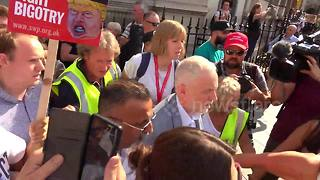 Labour leader Jeremy Corbyn receives rock-star welcome at anti-Trump rally - Video