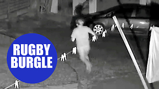 Bungling burglar chased away by burly ex-England women's rugby player - Video