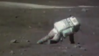 An astronaut fell on the moon surface during Apollo 16 mission 1972 - Video